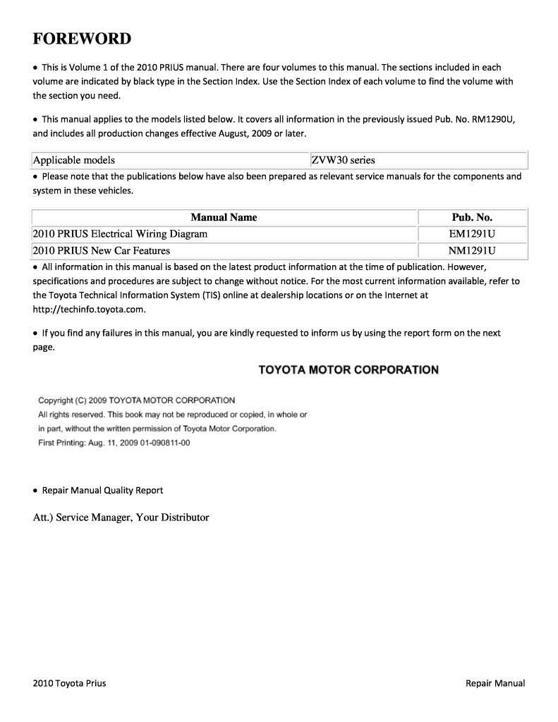 Toyota Prius Zvw30 Plugin Hybrid Pdf 175 Mb Repair Manuals English En